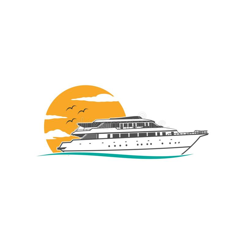Cruise ship logo vector. Ship sea cruise vector logo ocean nautical royalty free illustration