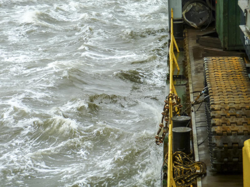 Ship in the sea. The edge of the barge deck royalty free stock image