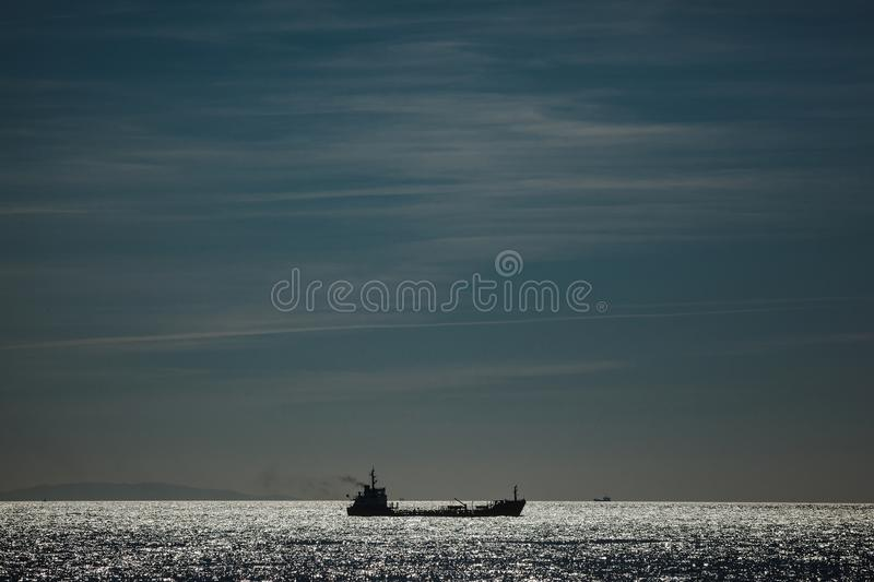 A ship in the sea stock images