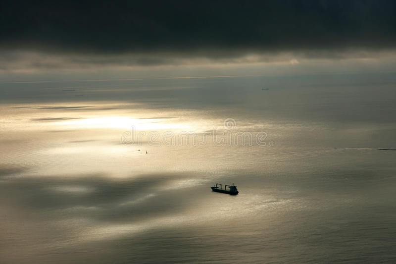 Ship at sea. Ship out in the cold sea, Russia royalty free stock images