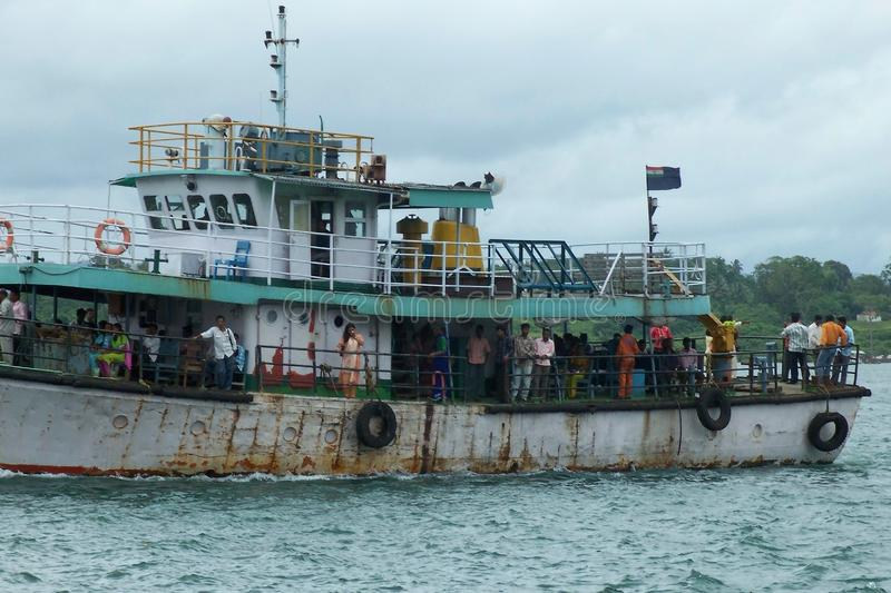 Ship in the sea. The ship in the sea which acts as a transport from Mumbai to Andaman Nicobar by sea. And it is useful to bring passengers royalty free stock photography
