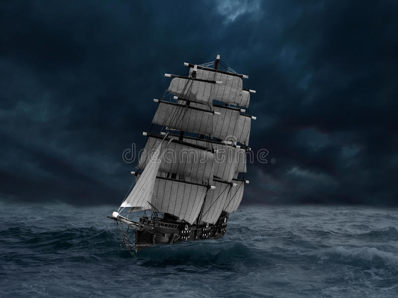 Ship in a sea storm royalty free stock photo