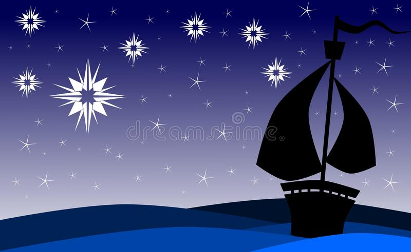 Ship On Sea At Night With Stars Royalty Free Stock Images