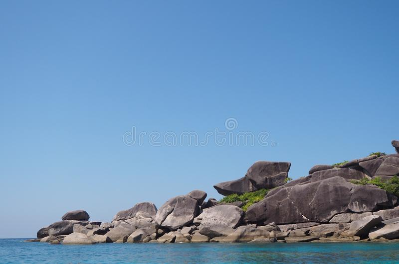Ship shape stone at famous vacation in Krabi, Thailand royalty free stock images