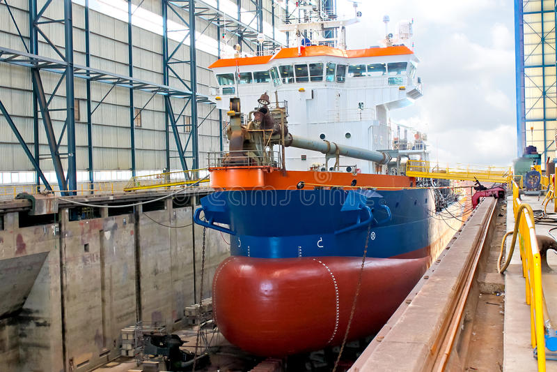 Ship in shipyard royalty free stock photography
