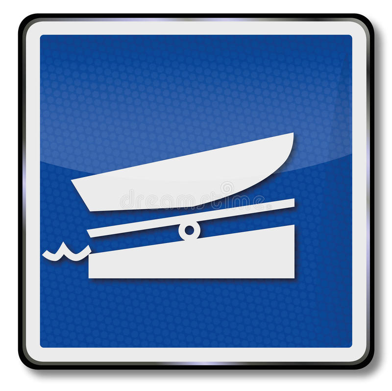 Ship sign boat ramp. Ship sign with a boat ramp stock illustration