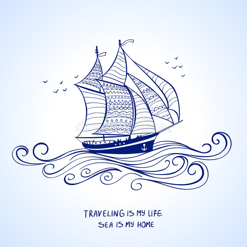 Ship silhouette royalty free illustration