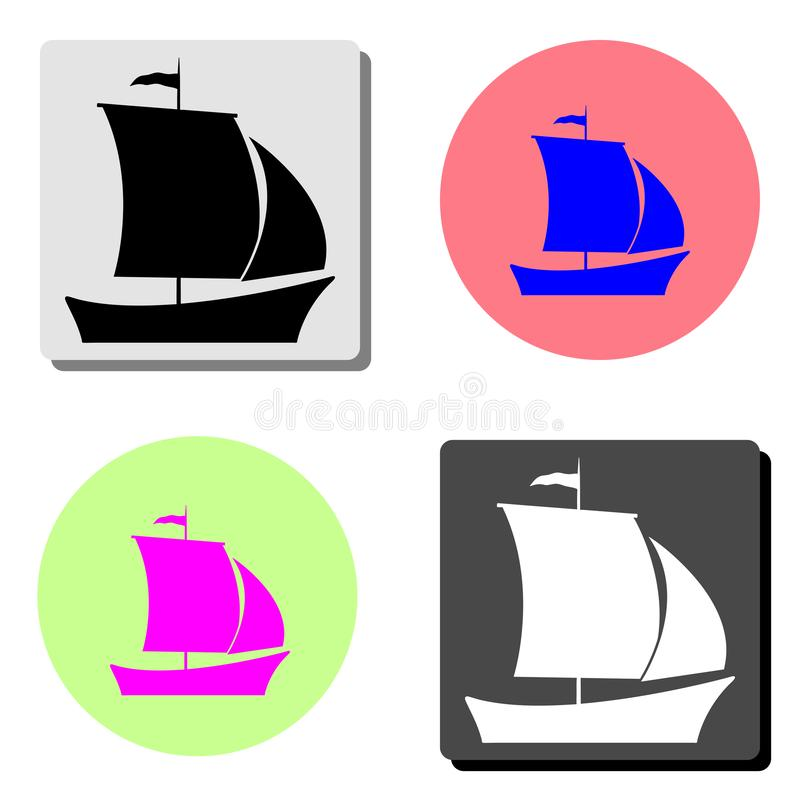 Ship. flat vector icon. Ship. simple flat vector icon illustration on four different color backgrounds stock illustration