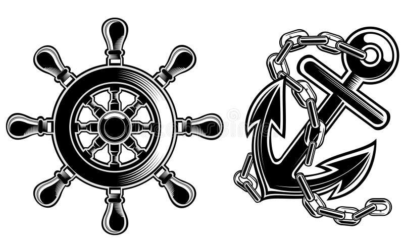 Ship steering wheel and anchor vector illustration