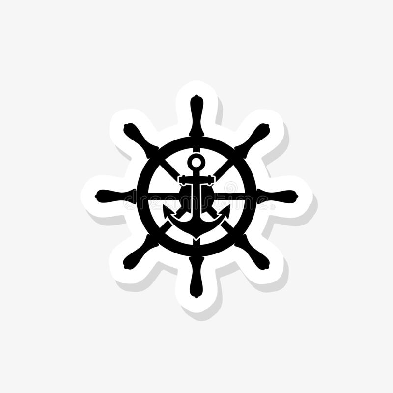 Ship steering wheel, anchor sticker icon. Simple illustration, flat design. On white stock illustration