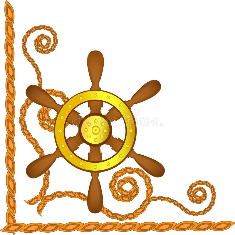 Download Ship Steering Wheel And Flags Stock Photography - Image: 19477982
