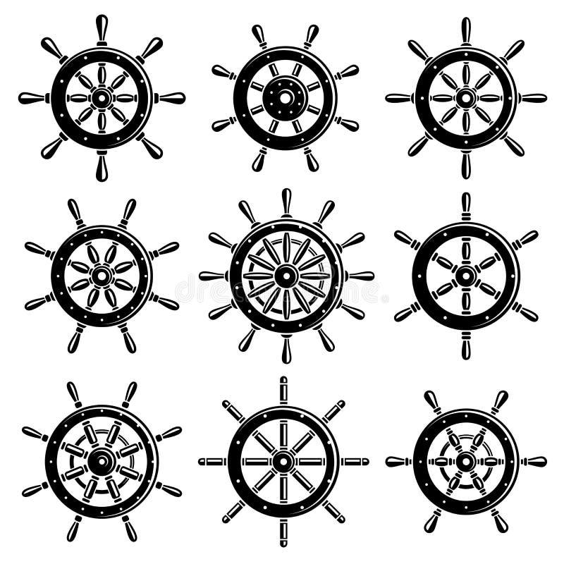 Free Ship Steering Wheel Set. Vector Stock Image - 47407671