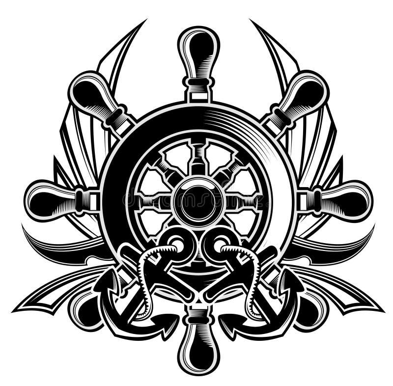 Ship steering wheel shield royalty free illustration