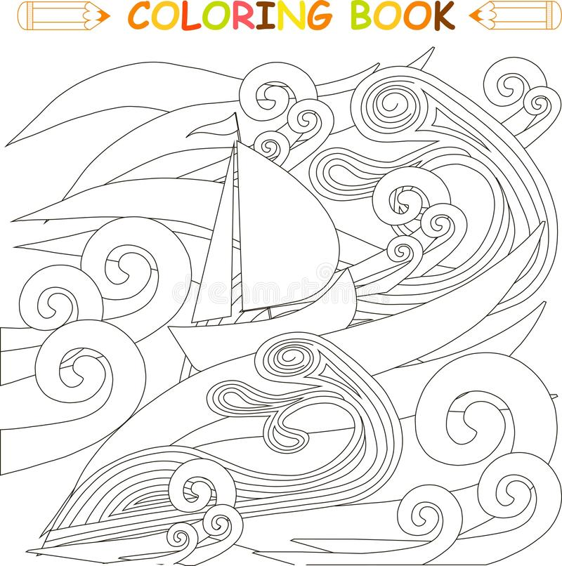 Ship In Storm In The Ocean, Coloring Page Vector Stock Vector ...