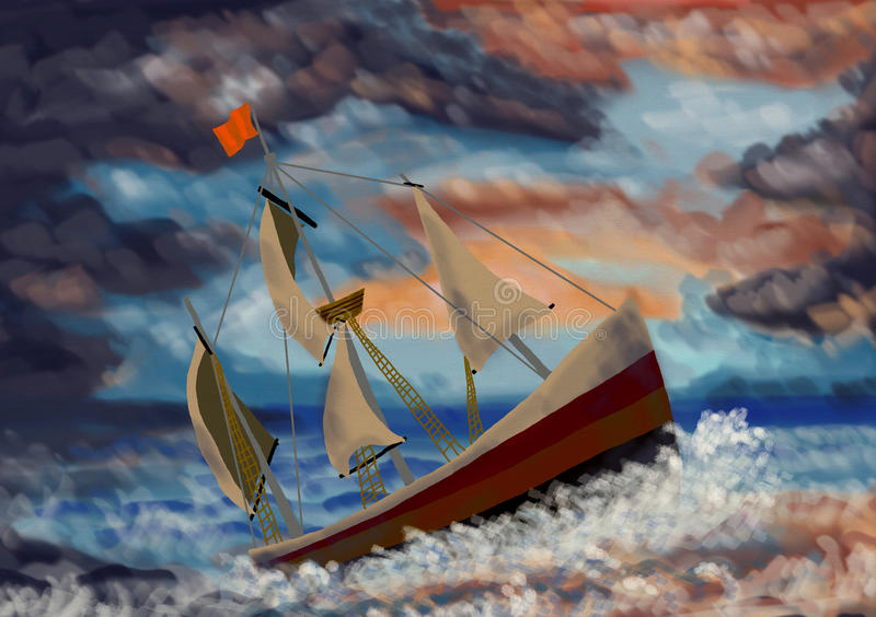 Ship in The Storm royalty free stock photography