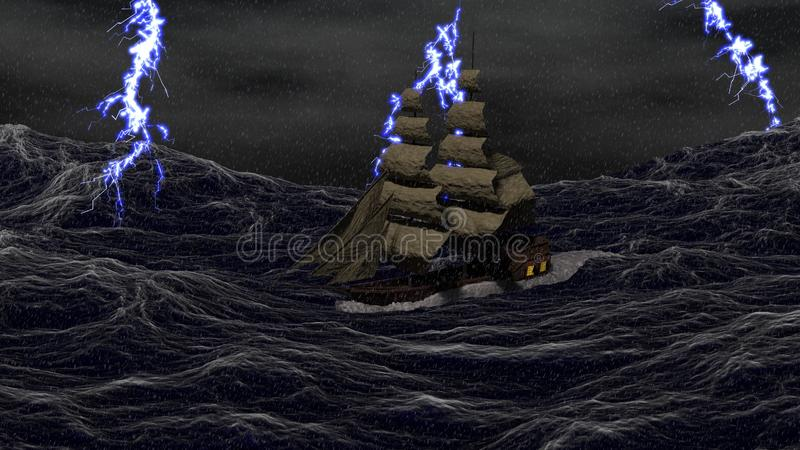 Ship on a Stormy Sea stock illustration
