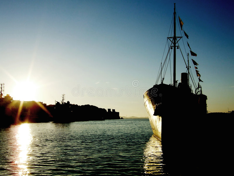 Download Ship at sunset stock image. Image of pole, harbour, citylamp - 1412885