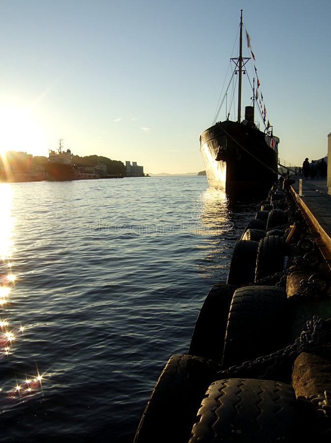 Download Ship At Sunset Stock Image - Image: 1413081