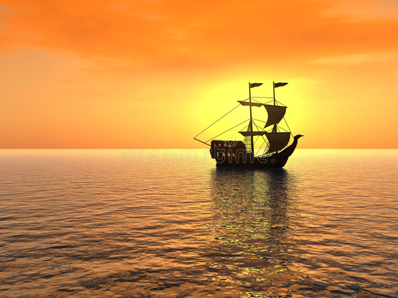Ship_sunset libre illustration