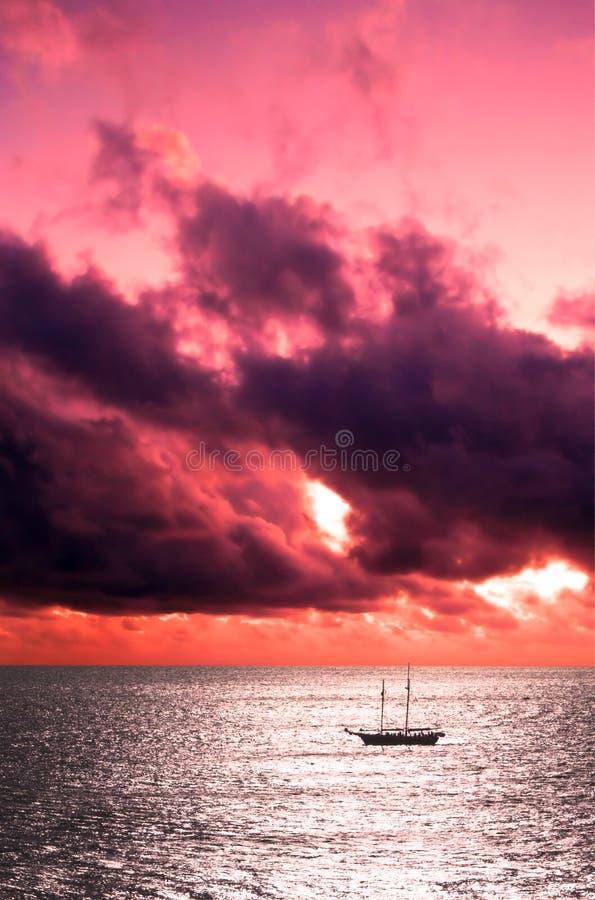 Ship at Sunset royalty free stock photos