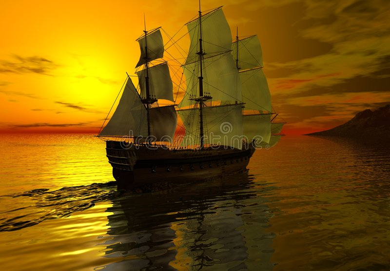 Ship at Sunset. Digital render of a sailing ship at sunset on a calm sea vector illustration