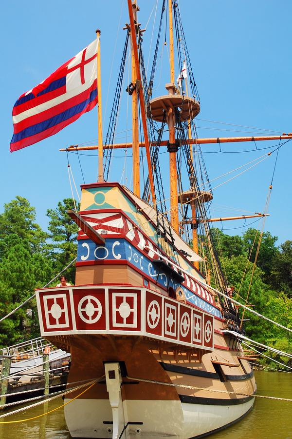 The ship Susan Constant. A replica of the ship Susan Constant is moored at a dock in Jamestown, Virginia stock photography