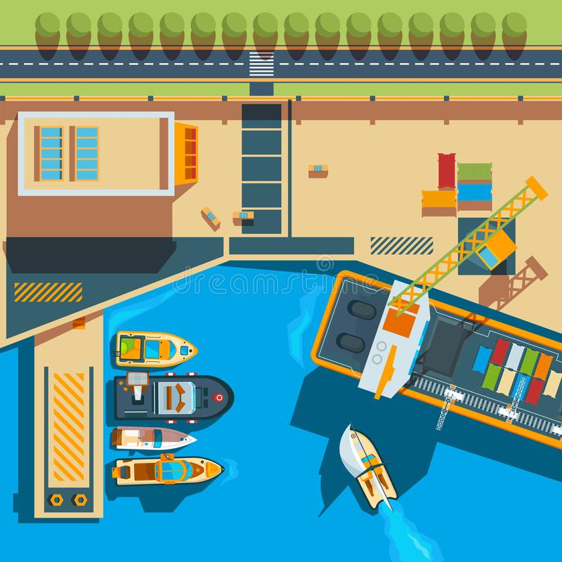 Ship top view. Seaside cargo boats dockyard terminal vector map above ship illustrations stock illustration