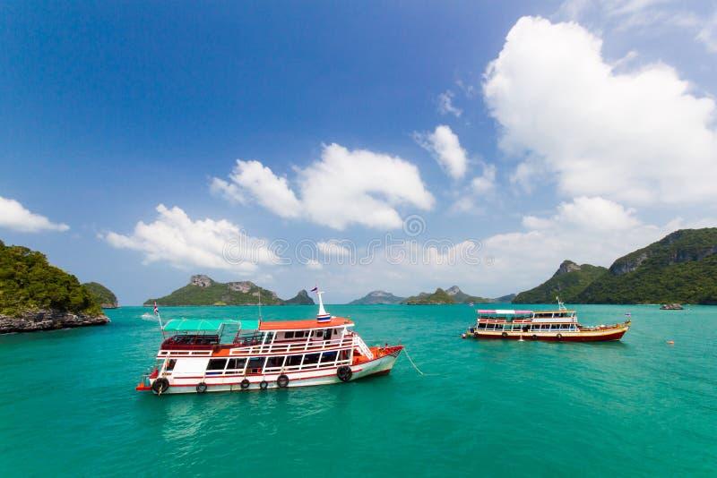 A ship tour tranfer man to. A ship tour at Angthong national marine park close to Koh Samui, Thailand royalty free stock photo