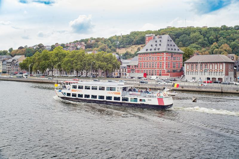 Ship with tourists in a river Meuse stock images