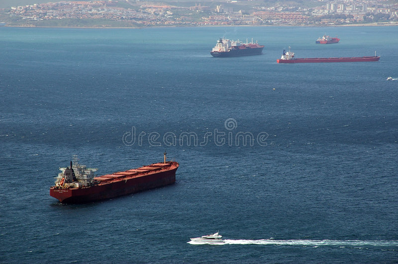 Download Ship Traffic In Gibraltar Bay Stock Photo - Image of busy, tanker: 110356