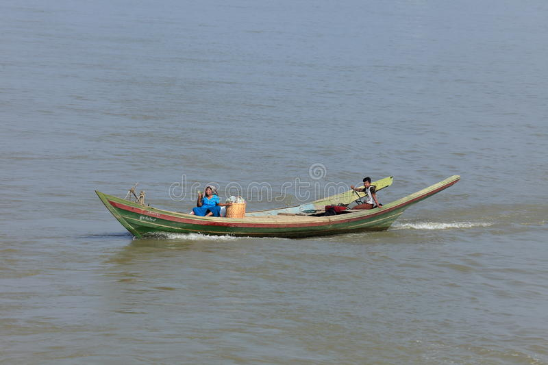 Ship traffic on the Irrawaddy in Myanmar. The Ship traffic on the Irrawaddy in Myanmar stock image