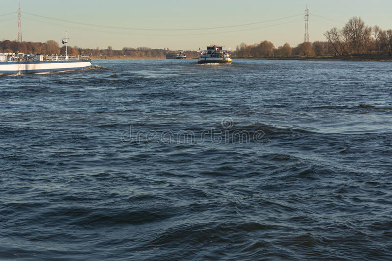 Ship traffic on the Rhine. Near Dormagen Zons in Germany royalty free stock photos
