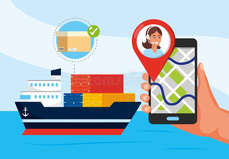 Ship transport and hand with gps location and call center service. Vector illustration royalty free illustration