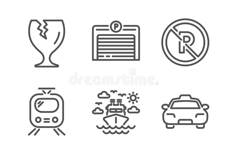 Ship travel, No parking and Fragile package icons set. Parking garage, Train and Taxi signs. Vector vector illustration