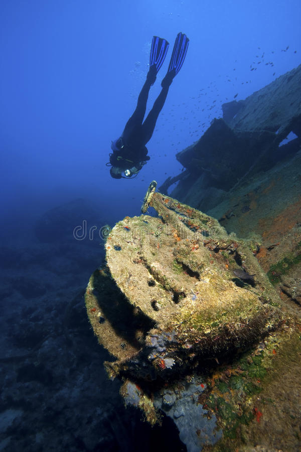 Ship underwater with diver royalty free stock images