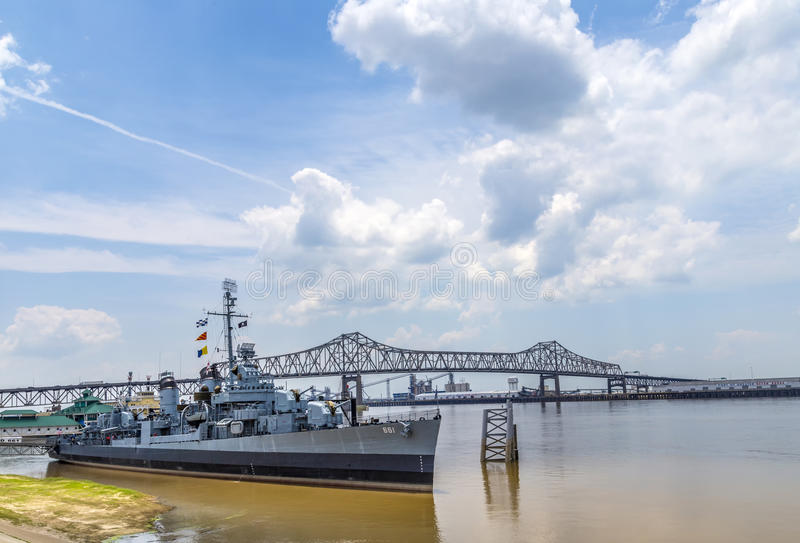 Ship USS Kidd serves as museum in Baton Rouge. BATON ROUGE, USA - JULY 13, 2013: USS Kidd serves as museum in Baton Rouge, USA. USS Kidd was the first ship of stock image
