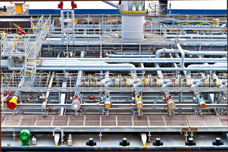 Ship vessel deck. View on top of a vessel ship deck with industrial storage royalty free stock images