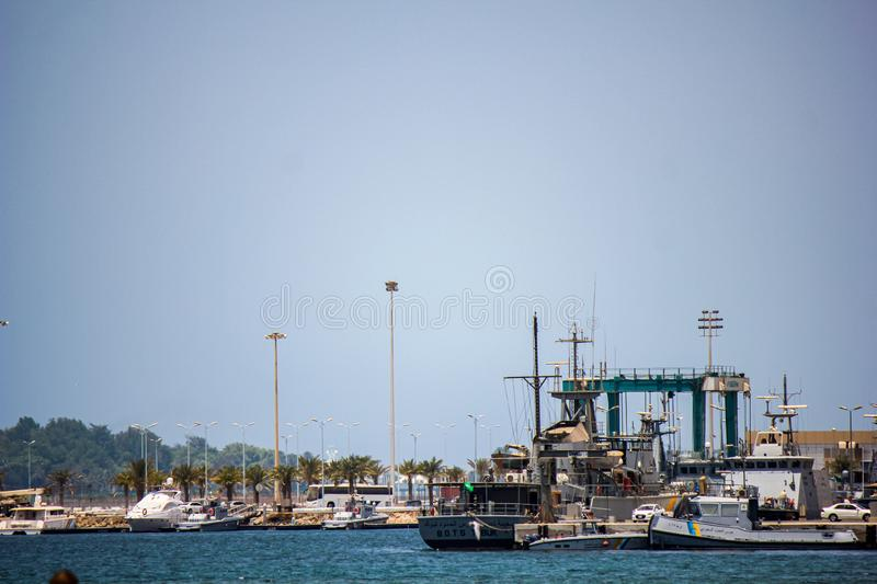 Ship vessel on port in jeddah Saudi Arabia royalty free stock photos