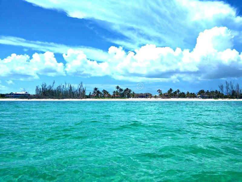 From A Ship. The view of Grand Bahama Island from a ship stock photos