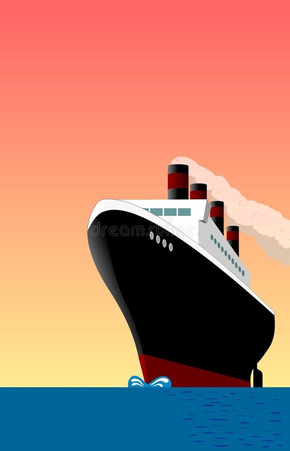 Ship Vintage. Poster style, vintage vessel at sea