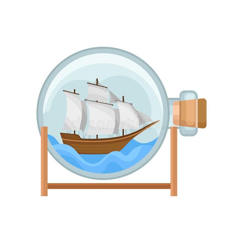 Ship and water in round glass bottle with cork. Model of wooden marine vessel with big sails. Flat vector for promo. Ship and water in round glass bottle with stock illustration