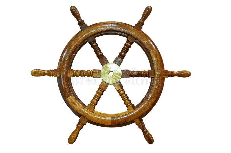 Ship wheel. Isolated on white background