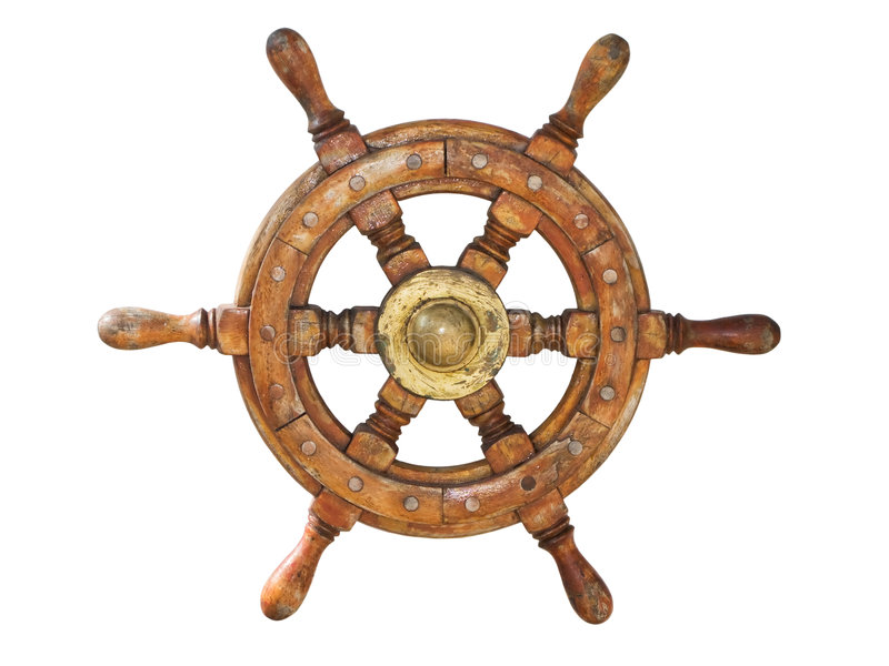 Ship wheel. Isolated in white