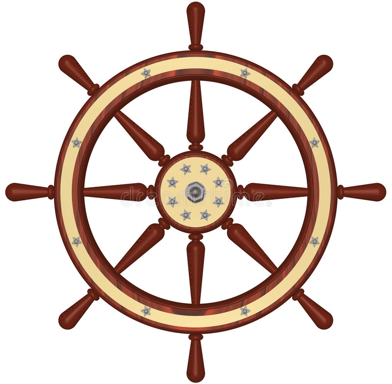 Ship Wheel. 3D rendering of a traditional yacht's steering wheel royalty free illustration