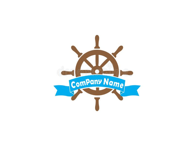 Ship wheel with a banner for logo design illustration on a white background stock photography