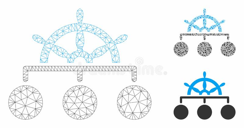 Ship Wheel Hierarchy Vector Mesh Wire Frame Model and Triangle Mosaic Icon vector illustration