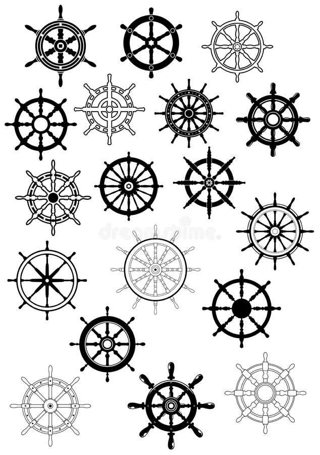 Ship wheel in retro style icon set stock illustration