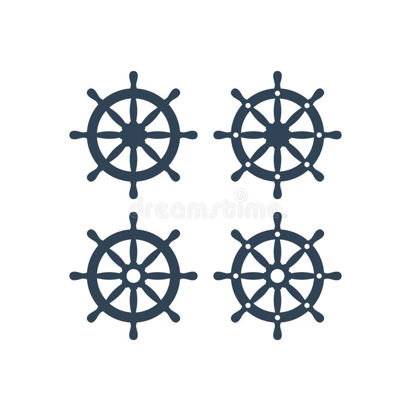 Ship wheel vector icon. Ship`s steering wheel simple icons set. Ship wheel royalty free illustration