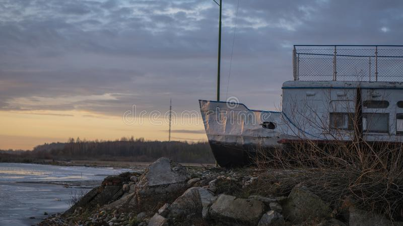 Ship in winter dock royalty free stock photo