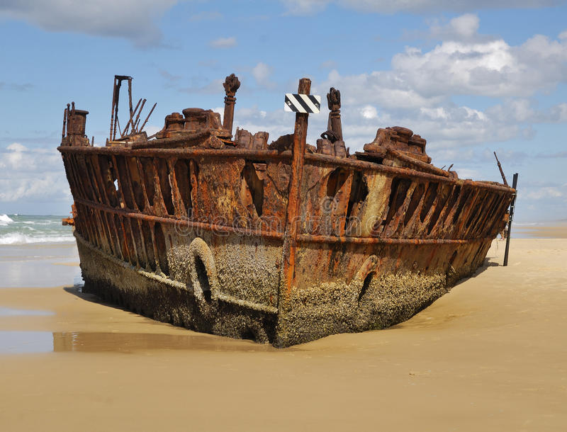 Ship Wreck on Fraser Island. A picture of the wreck of the ship the Maheno on Fraser Island in Queensland, Australia stock images